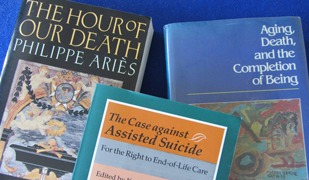 Image of books relating to euthanasia